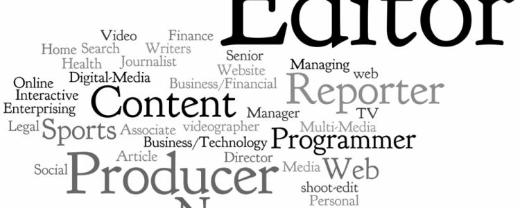 Una serie di parole riferite al web, al web journalism. Titoli in inglese che richiamano gli attrezzi del mestiere di un giornalista on line.