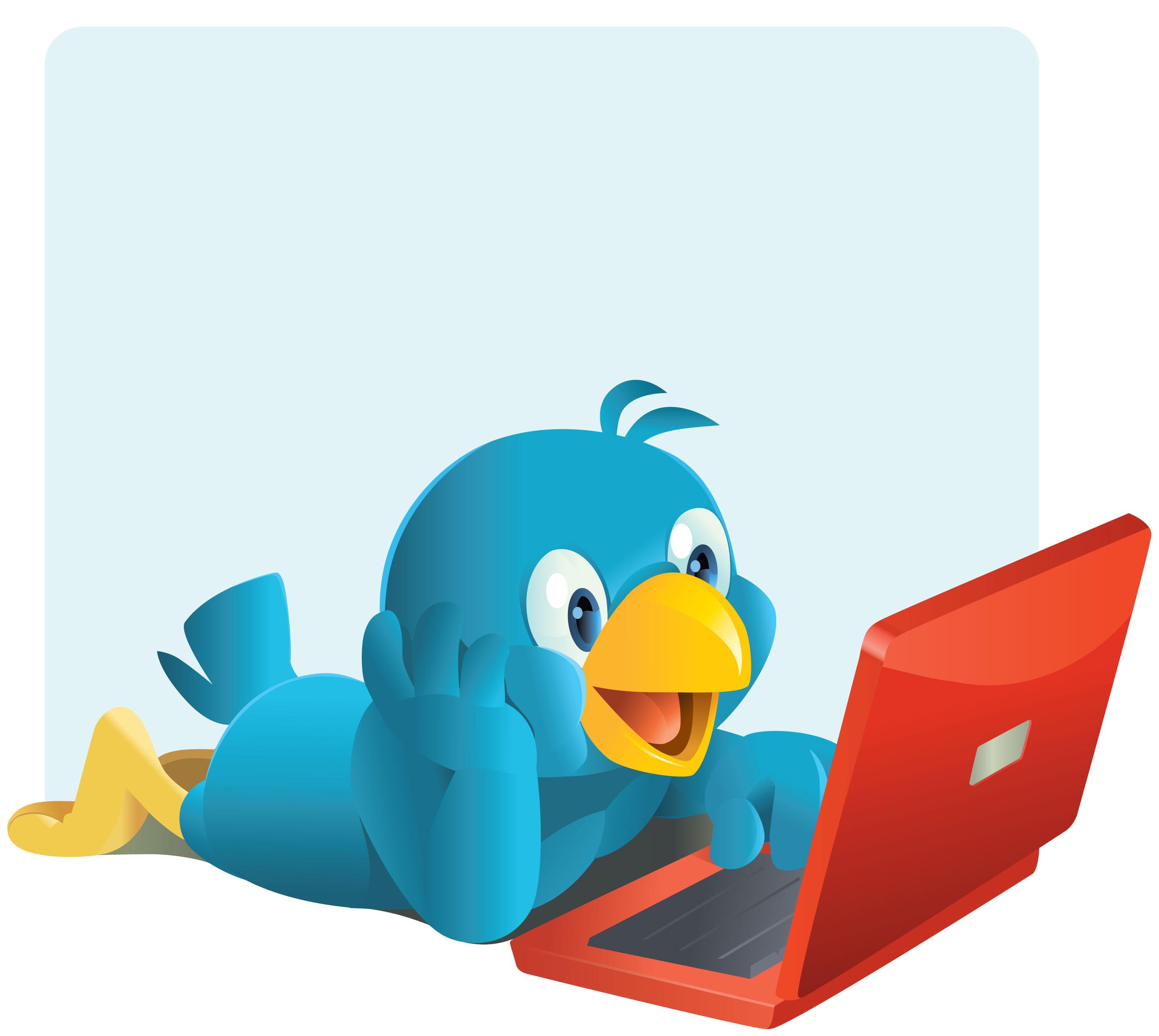 pulcino blu di twitter che legge allegramente il monitor di un pc portatile rosso