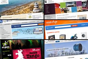 Un collage di home page di siti, tutti di colori diversi per dimostrare che il design di un sito è la prima carta da giocare per chi lavora on line