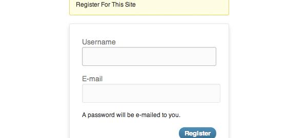 Wordpress Form di registrazione standard