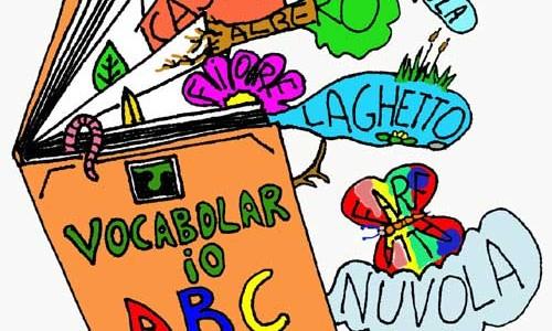 vocabolario arancione da cui saltano fuori parole e immagini variopinte