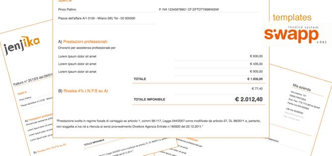 Template fattura per Regimi dei Minimi – con Siwapp