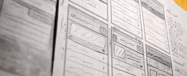 Esempio di sketch per Wireframes