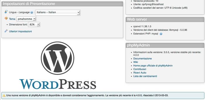 Gestione dei Database WordPress con phpMyAdmin
