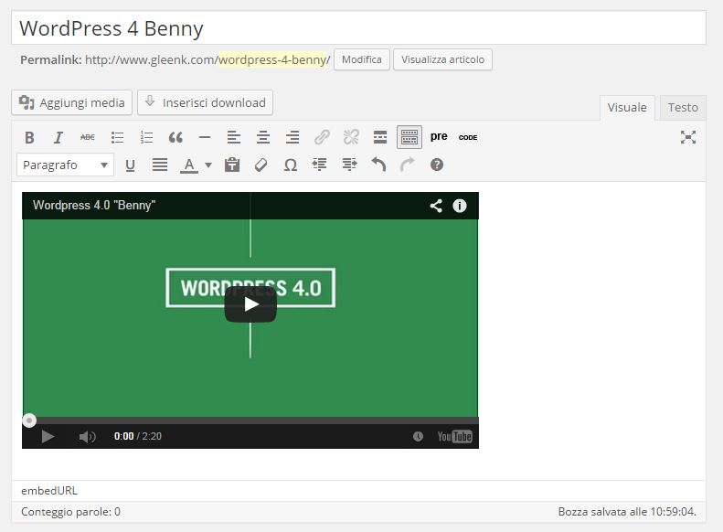 WP 4.0 Embed Video
