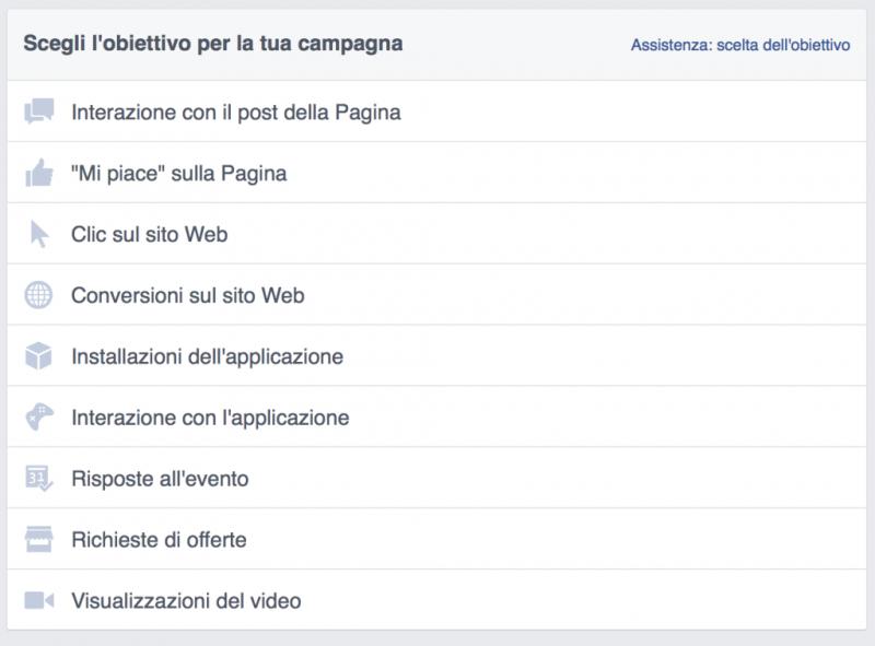 Facebook obiettivi inserzioni