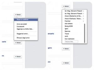 Liste di amici su Facebook