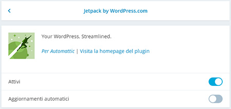 Jetpack Site Management: gestione plugins