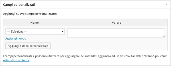 Personalizzare WordPress grazie ai custom fields