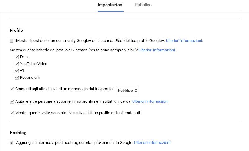 Impostazioni profilo GooglePlus per aumentare la visibilità