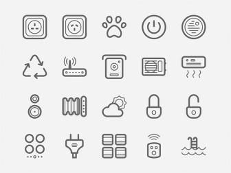 Prese della corrente, lampadine, ventilatori, router. Insomma, un set di icone casalinghe vettoriali per la vita di tutti i giorni