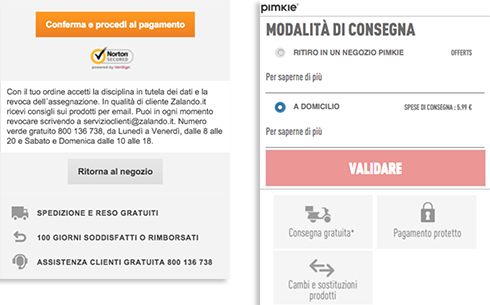 Checkout mobile Zalando e Pimkie