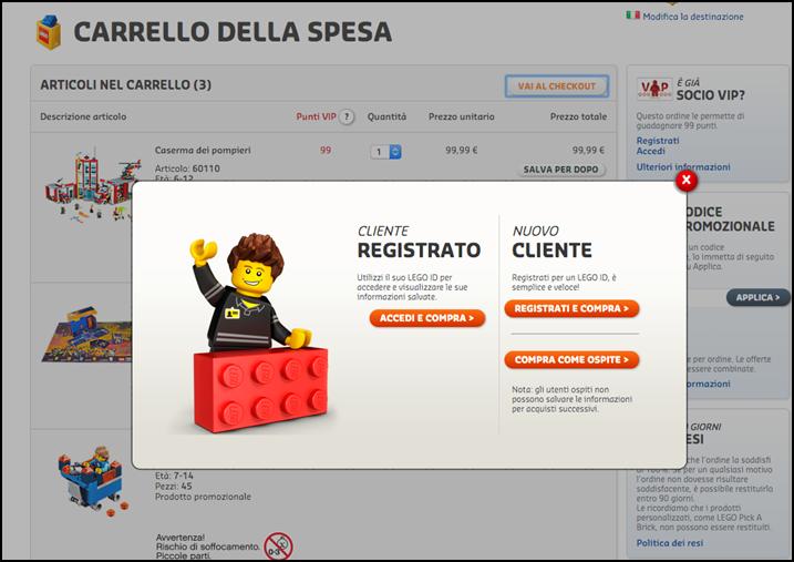 Registrazione non forzata Lego
