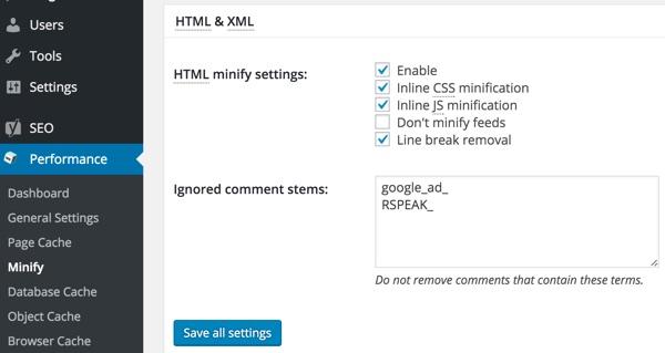 w3tc minify html