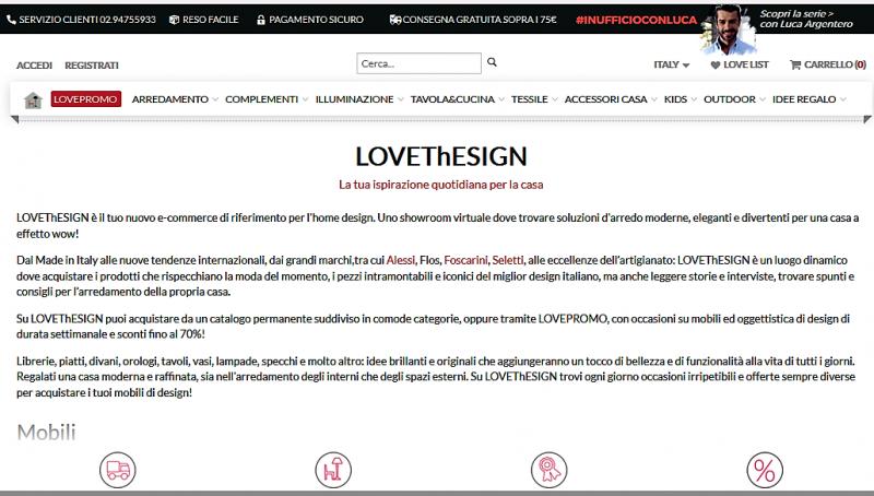 testo ecommerce homepage