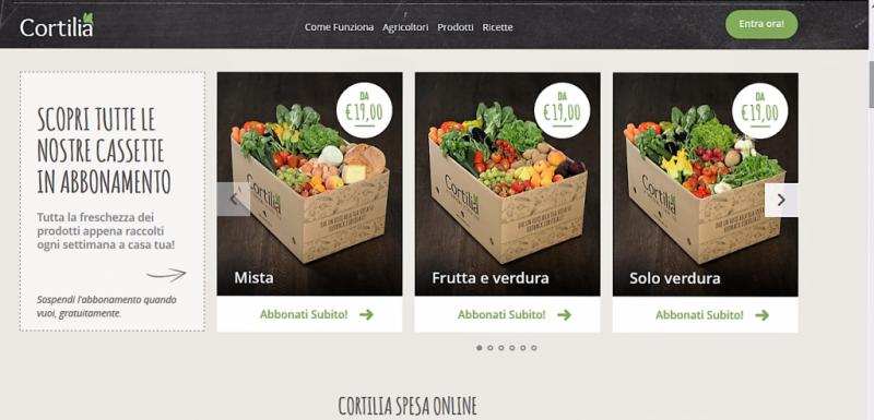 vetrina ecommerce homepage