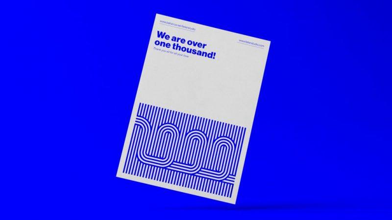 Questa serie di poster realizzata da Fetén Studio per celebrare il raggiungimento di 1000 follower segue tutti i principi dello Swiss Style.