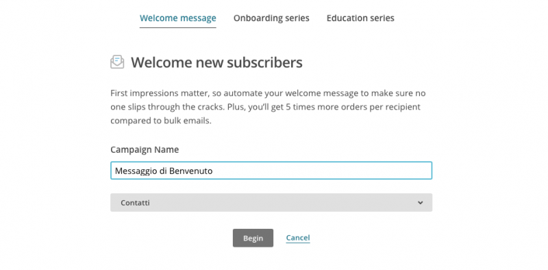 Welcome email marketing automation